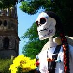 Day of the Dead skeleton in the city centre of Guadalajara.