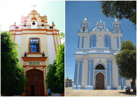 Colorful pretty kitsch churches
